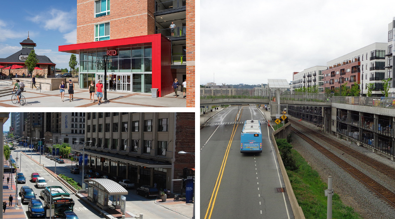 Top left: RTD Boulder Junction entrance rendering, right: a lone bus on a busway in pittsburgh approaching a station with a new TOD, and bottom left, a BRT corridor in downtown Cleveland