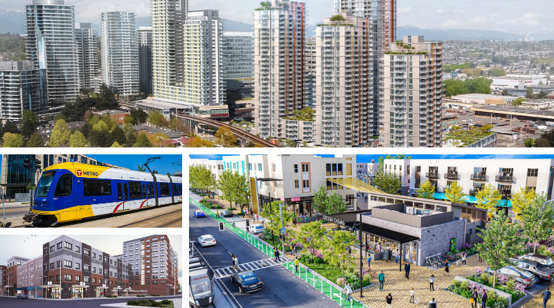Top: rendering of tall residential buildings in Vancouver, bottom left: a walkable transit-oriented community in Tempe, bottom left: several brown and gray buildings planned for downtown Plainfield, center left: a blue and gold minneapolis metro light rail vehicle