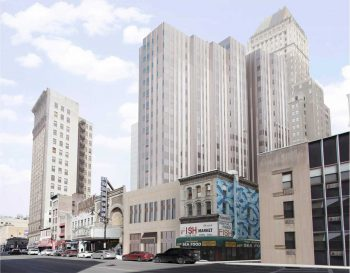 A rendering of a two-story theater facade in Newark, with a tall residential building set back behind it. The building is about twenty stories tall.